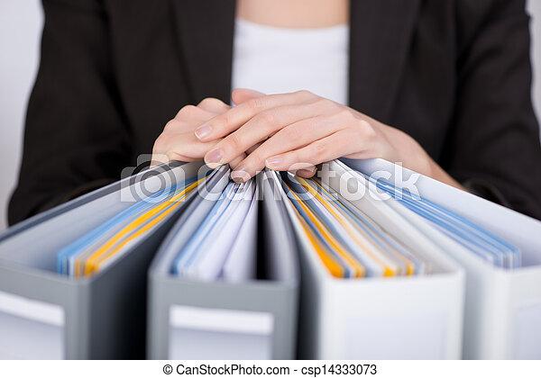 classeurs, femme affaires - csp14333073