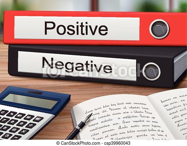 classeurs, positif, négatif - csp39960043