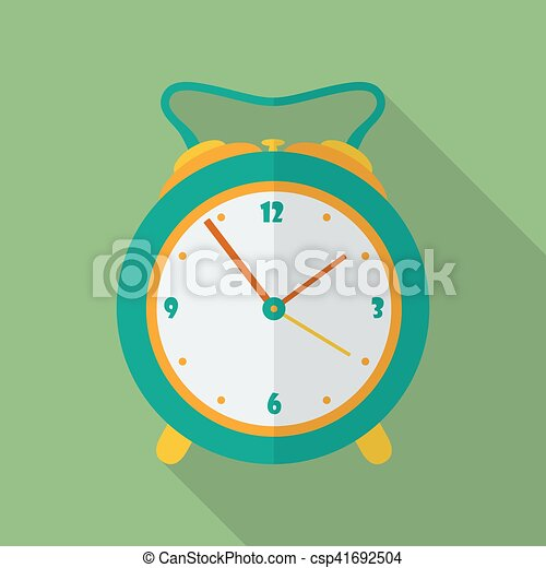 Classic alarm clock icon. Modern Flat style with a long shadow - csp41692504
