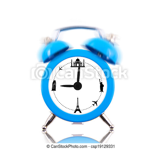 Classic alarm clock ringing, with landmarks on dial isolated - csp19129331