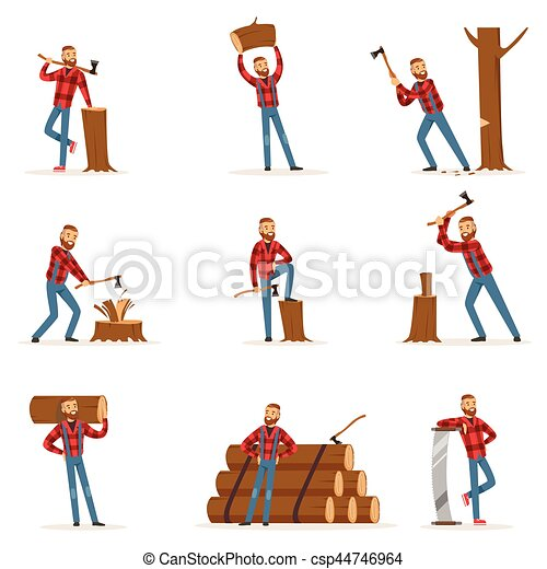 Classic American Lumberjack In Checkered Shirt Working Cutting And Chopping Wood With Cleaver And A Saw - csp44746964