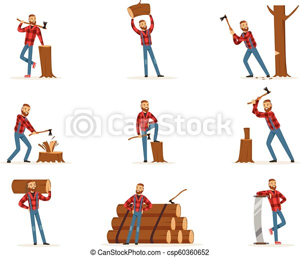 Classic American Lumberjack In Checkered Shirt Working Cutting And Chopping Wood With Cleaver And A Saw - csp60360652