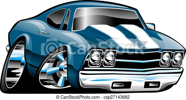 Classic American Muscle Car Cartoon Illustration Blue With White