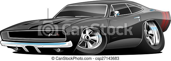 classic american muscle car cartoon illustration, lots of chrome