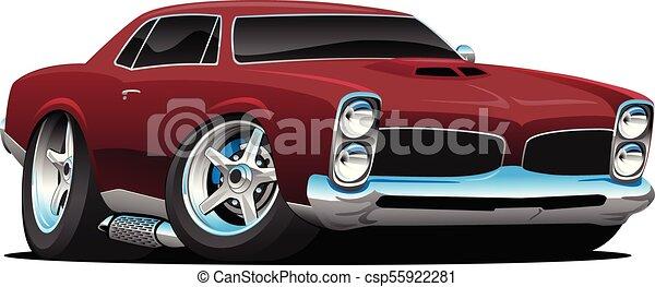 Classic American Muscle Car Cartoon Vector Illustration - csp55922281