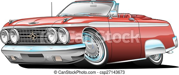 Classic American Muscle Car Cartoon Illustration Lots Of Chrome