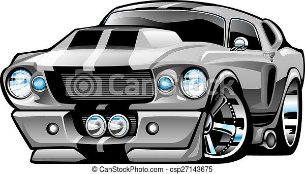 Classic American Muscle Car Cartoon - csp27143675