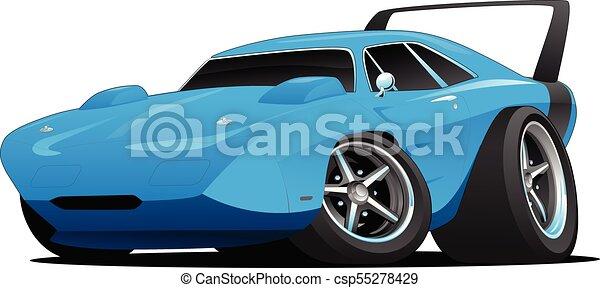 Classic American Muscle Car Hot Rod Hot American Muscle Car Cartoon