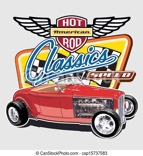 Classic American Speed Car Hot Rod Vintage Car Vector For