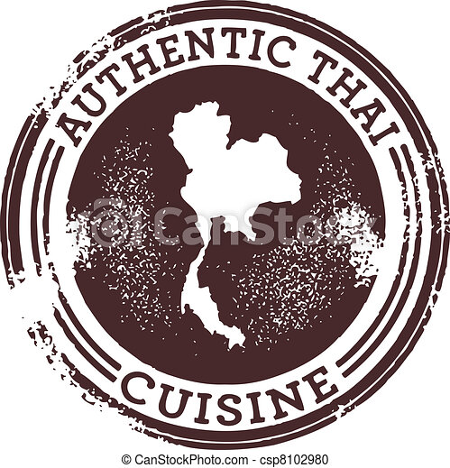 Classic Authentic Thai Food Stamp - csp8102980