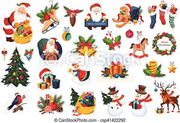 Christmas Stickers.Classic Beautiful Christmas Stickers On White Background