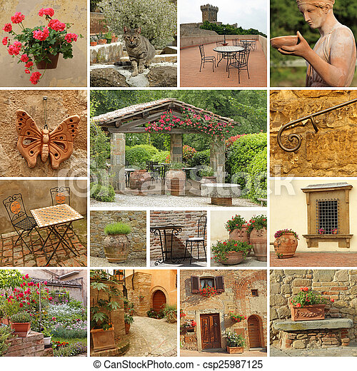 classic beautiful tuscan style terrace - collection of images - csp25987125