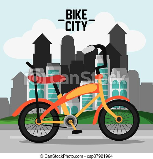 classic bicycle bike and city icon sport concept vector graph rh canstockphoto com Tricycle Clip Art Funny Bicycle Clip Art