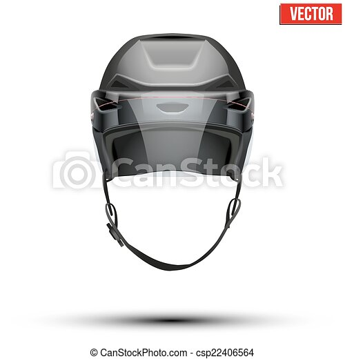 Classic black Ice Hockey Helmet with glass visor isolated on Background. Vector. - csp22406564