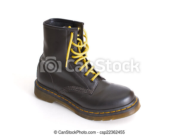 Classic black lace,up boot with yellow laces