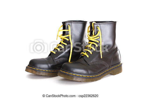 Classic black lace,up boots with yellow laces
