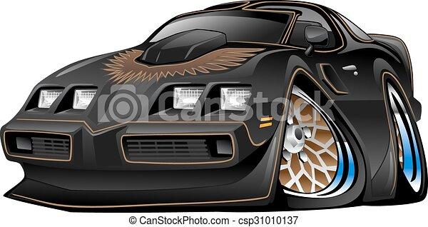Classic Black Muscle Car Cartoon - csp31010137