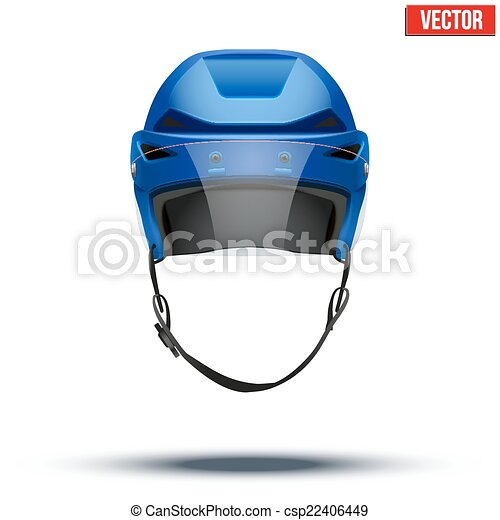 Classic blue Ice Hockey Helmet with glass visor isolated on Background. Vector. - csp22406449
