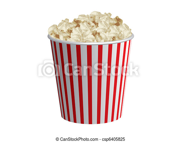Classic box of red and white popcorn box - csp6405825