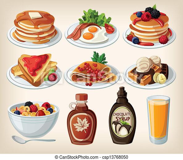 Classic breakfast cartoon set - csp13768050