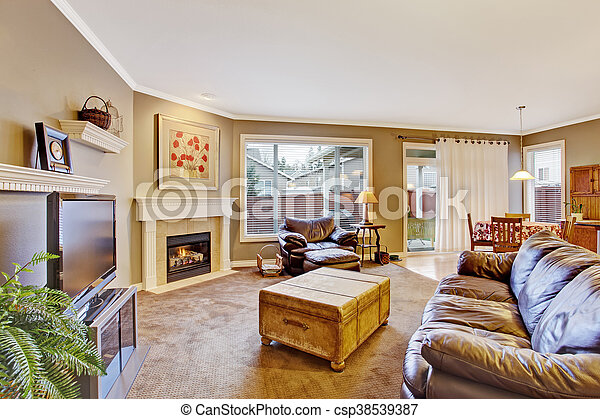 Classic brown and white living room interior - csp38539387