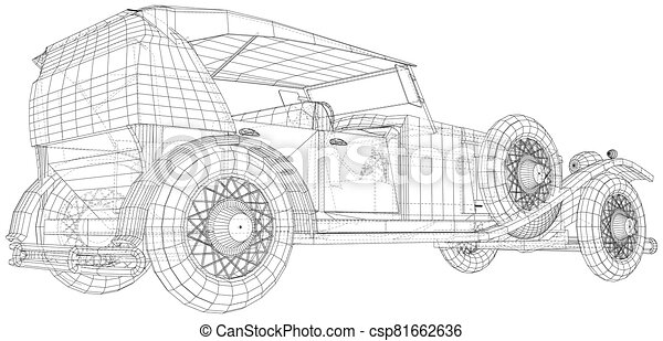 Classic car vector. Trucking vehicle. Wire-frame. The layers of visible and invisible lines are separated. EPS10 format - csp81662636