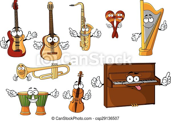 Classic cartoon musical instruments characters - csp29136507