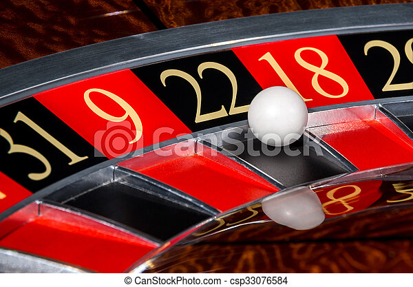 Classic Casino Roulette Wheel With Black Sector Twenty Two 22 And White Ball And Sectors 31 9 18 29 Canstock