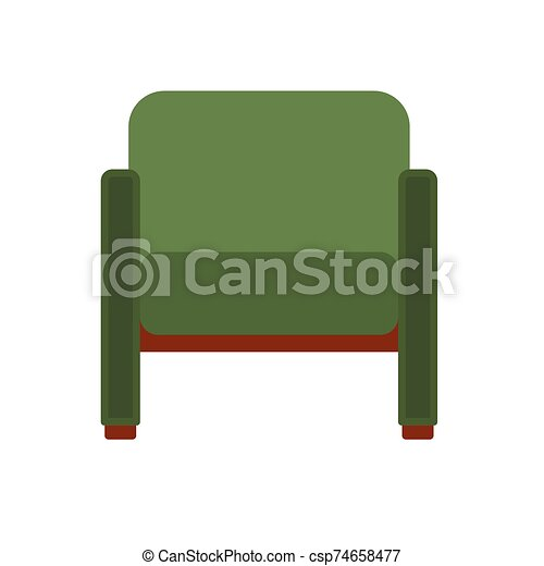 Classic chair green vector icon front view. Furniture home interior isolated. Retro luxury room sit. Cartoon sofa flat stool - csp74658477