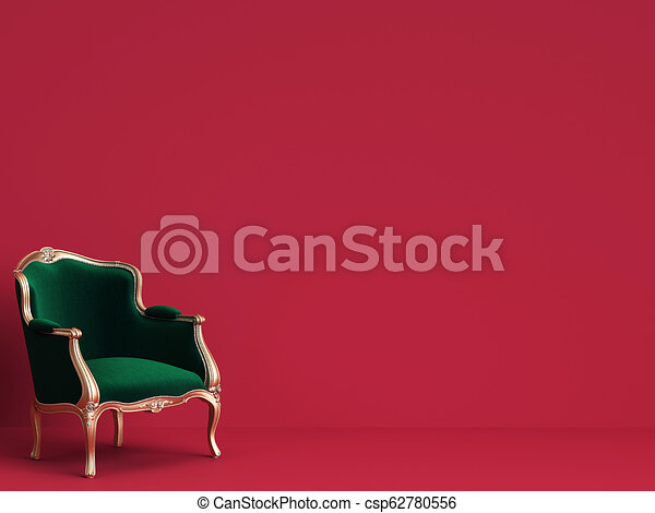 Classic chair in emerald green and gold on red background with copy space - csp62780556