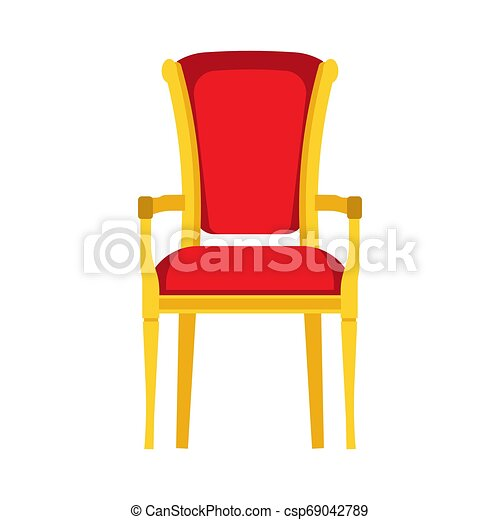 Classic chair red vector icon front view. Furniture home interior isolated. Retro luxury room sit. Cartoon sofa flat stool - csp69042789