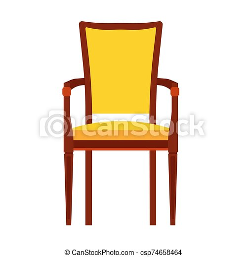 Classic chair yellow vector icon front view. Furniture home interior isolated. Retro luxury room sit. Cartoon sofa flat stool - csp74658464