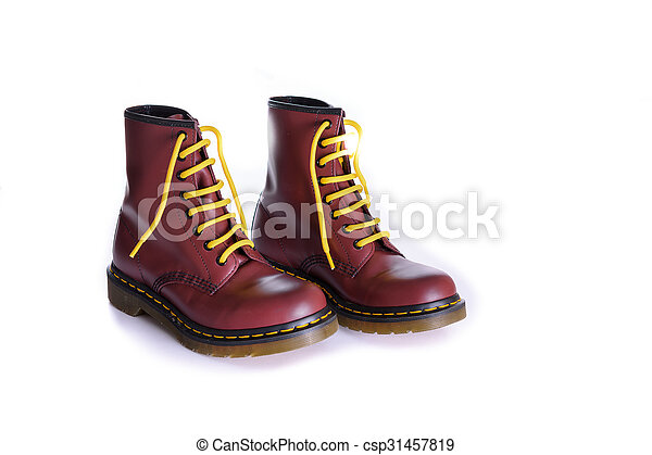 Classic cherry red oxblood lace,up boots with yellow laces
