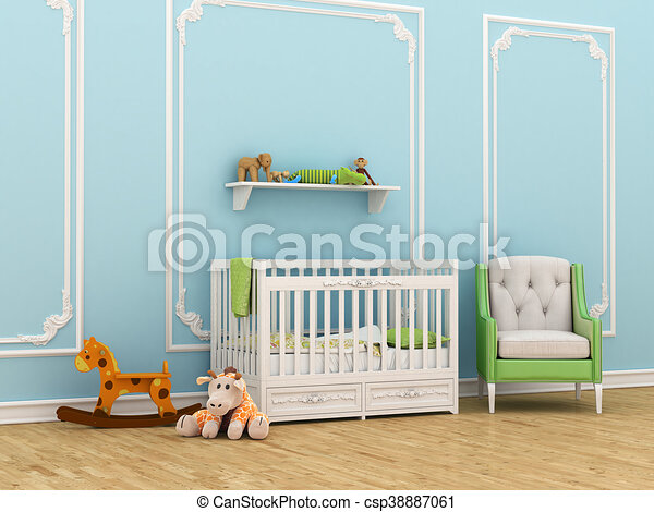 Classic children's room with a crib, chair and toys. 3d illustration - csp38887061