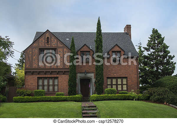 Classic colonial brick house - csp12578270