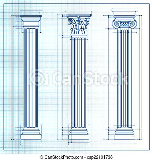 Classic columns blueprint sketch - csp22101738