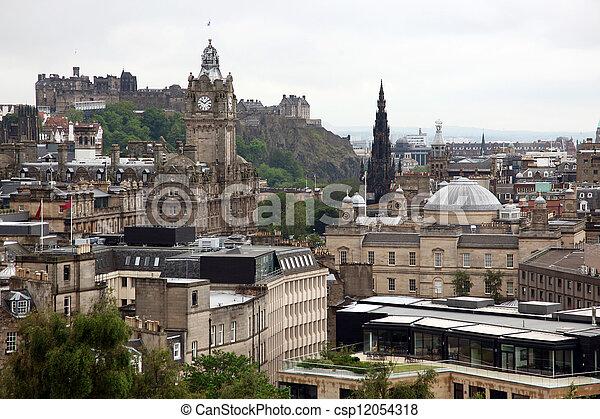 Classic Edinburgh from Calton Hill including Edinburgh Castle, Balmoral Hotel and Scott Monument, UK - csp12054318