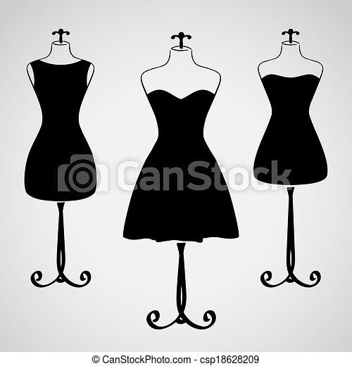 Classic female dress silhouette - csp18628209