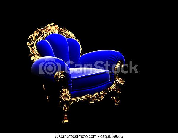 Classic Golden Chair In The Dark   Csp3059686