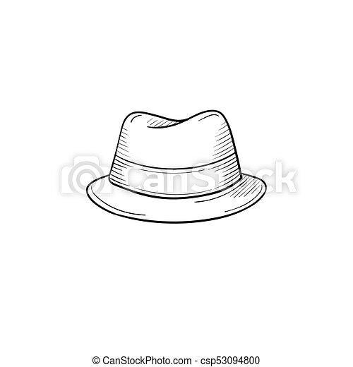 990cf759574 Classic hat hand drawn sketch icon. Vector hand drawn classic hat ...