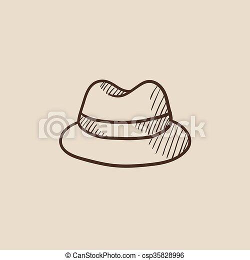 6663ca9c2e5 Classic hat sketch icon. Classic hat sketch icon for web