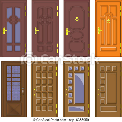 Classic Interior And Front Wooden Doors   Vector