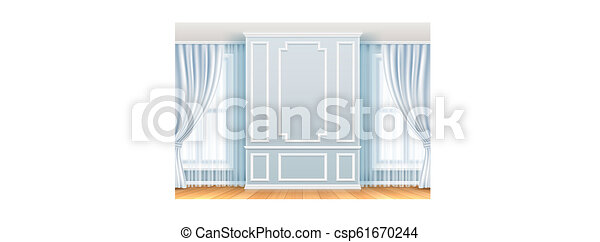 Classic interior. White wall with moulding frames and window. Home room vintage vector decoration - csp61670244