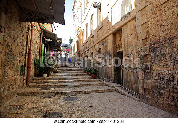 Classic Israel - Street in The old City in Jerusalem - csp11401284