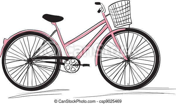 Classic ladies shopping bike. stylish illustration - csp9025469
