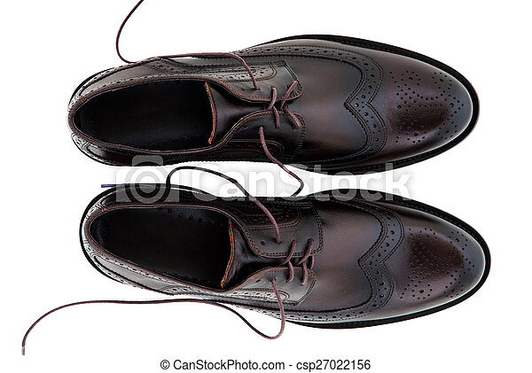 Classic Leather Men Shoes Isolated On White Background Male Fashion