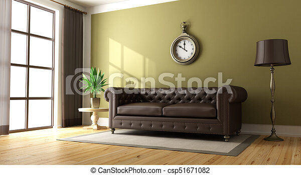Classic Living Room With Brown Elegant Sofa On Green Wall 3d