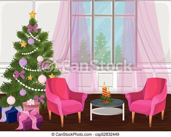 Classic livingroom interior with christmas tree vector. cartoon ...