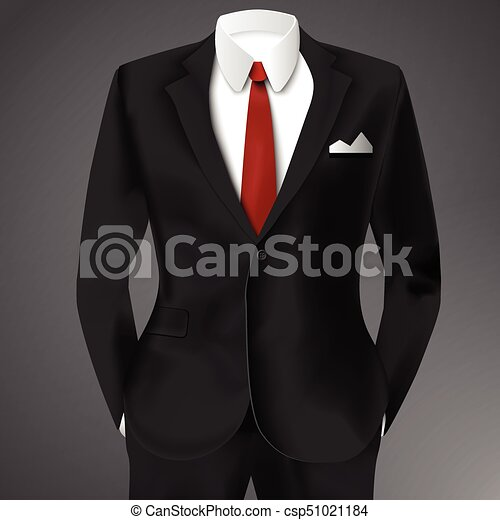 Classic Male Black Suit Classic Male Black Suit With Red Tie And