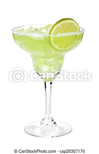 Classic margarita cocktail with lime slice and salty rim - csp20307170